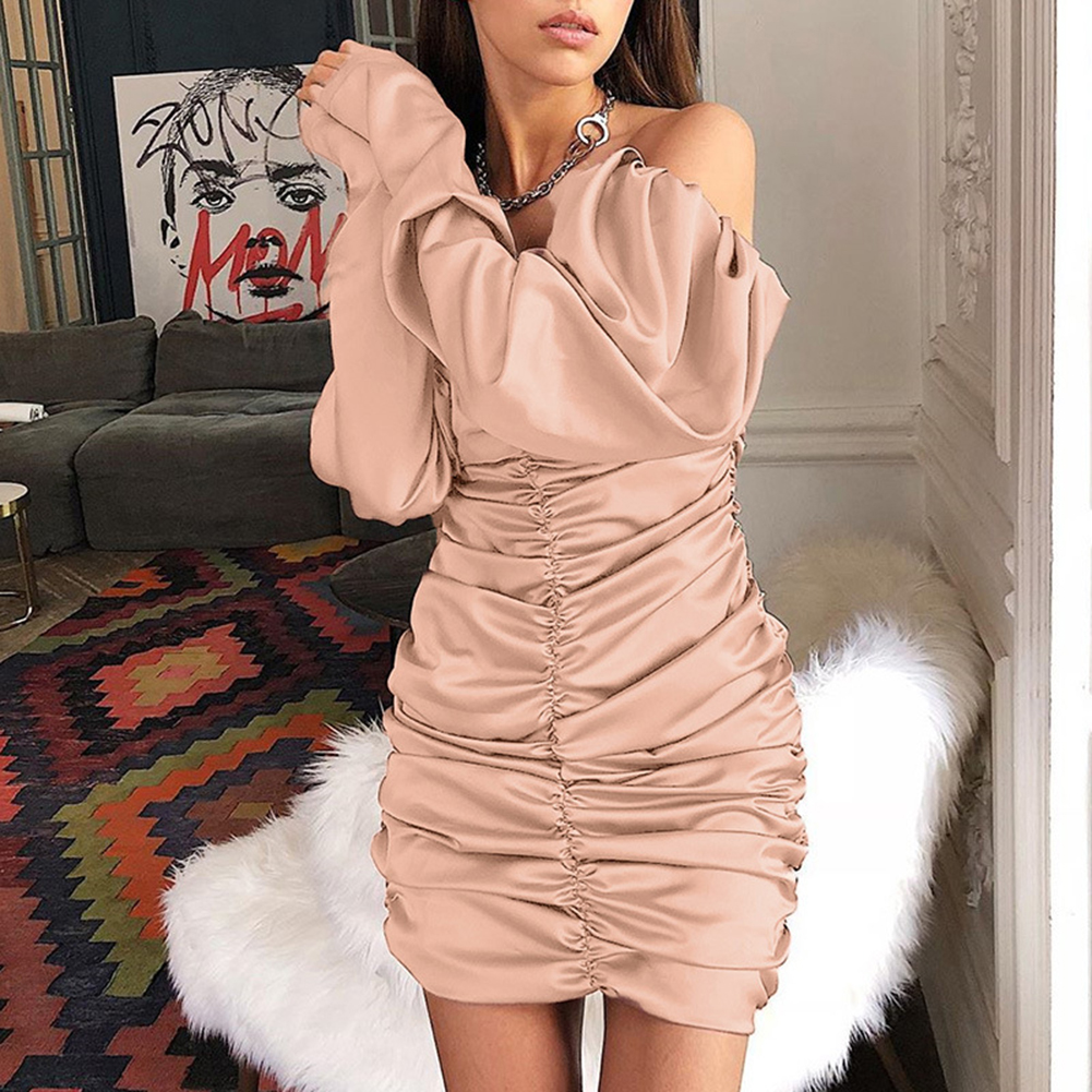 Summer Autumn <font><b>Dress</b></font> <font><b>Women</b></font> 2019 <font><b>Sexy</b></font> Long Sleeve Slim Elastic Bodycon Bandage <font><b>Dress</b></font> Short Pleated Party <font><b>Dresses</b></font> Vestidos N11 image
