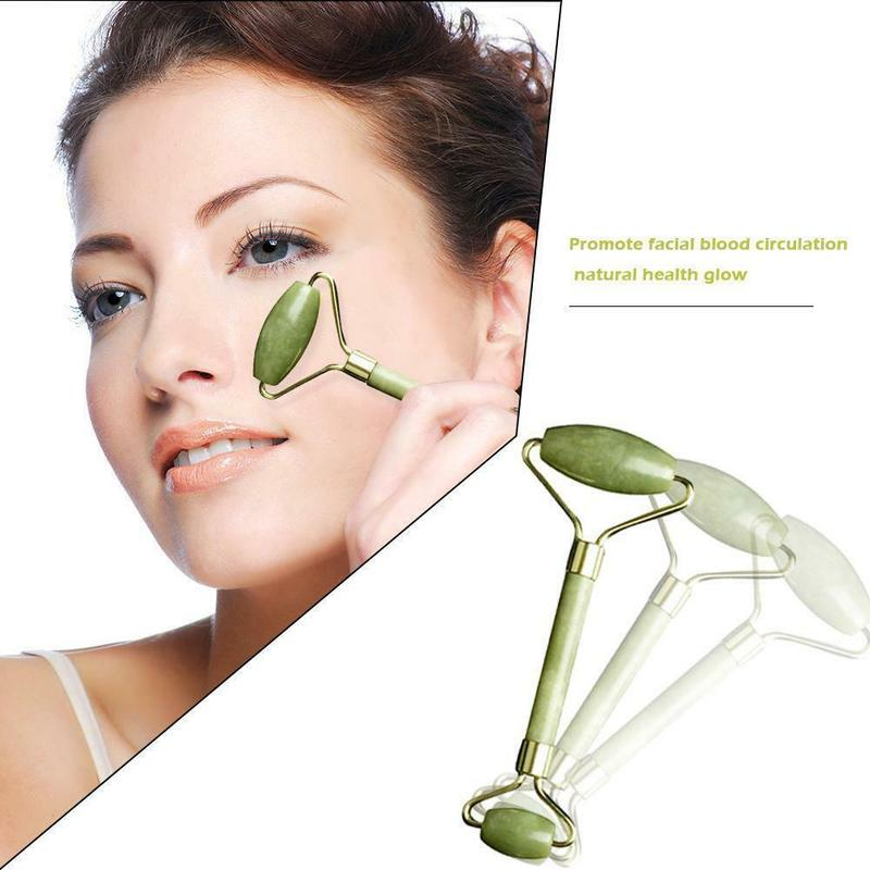 Double Head Facial Massage Jade Roller Jade Face Slimming Body Head Neck Nature Skin Care Face Massager Anti Cellulite