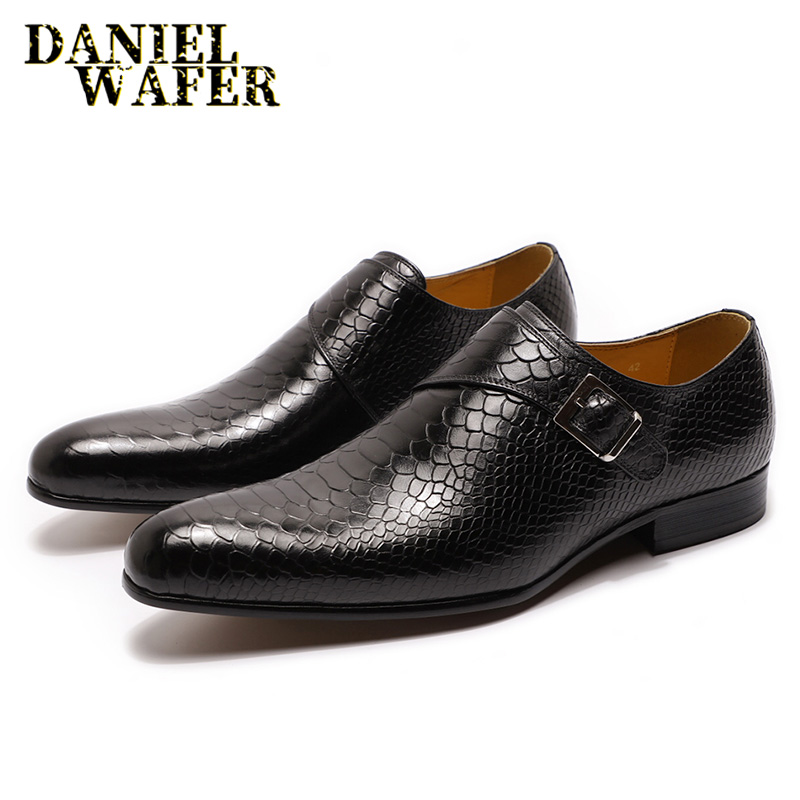 Men Leather Shoes Snake Skin Prints Men Formal Shoes Casual Dress Black Coffee Slip On Pointed Toe Shoes Mens Loafers Leather