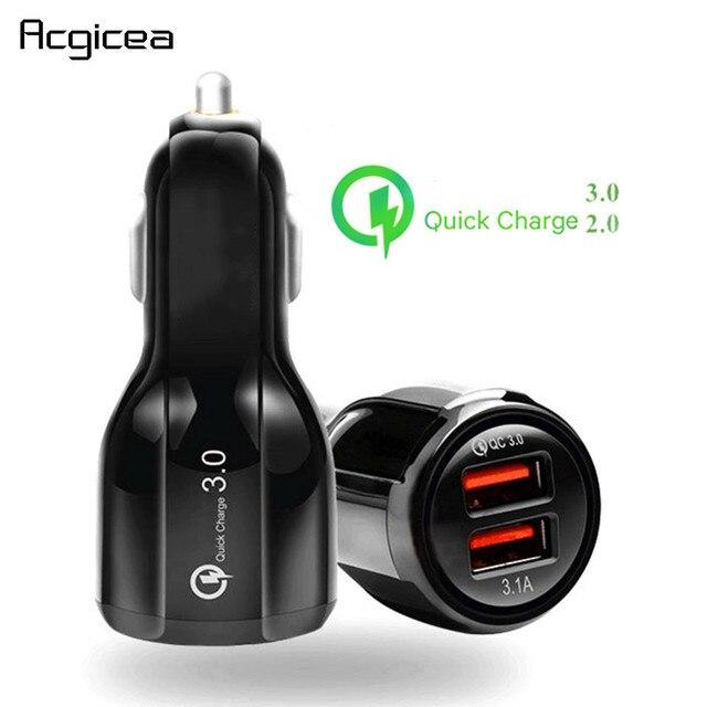 QC 3.0 2.0 شاحن سيارة USB مزدوج للهاتف المحمول شحن سريع آيفون 11 برو ماكس هواوي P30 برو سامسونج أقراص سيارة شاحن