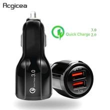 Автомобильное зарядное устройство QC 3,0 2,0 с двумя usb портами, мобильный телефон, быстрая зарядка для iPhone 11 Pro Max huawei P30 Pro, samsung, автомобильное зарядное устройство
