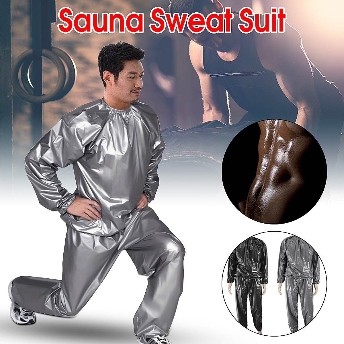 Sauna Suit Mens Womens Gym Clothing Set Sportswear Running Fitness Weight Loss Sweating Sports Suit