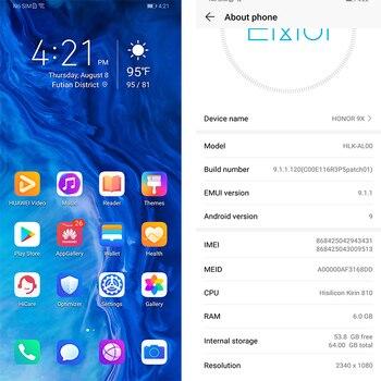 Honor 9x 9x pro Smart Phone Kirin 810 Octa Core 6.59 inch Lifting Full Screen 48MP Dual Cameras 4000mAh GPU Turbo Mobile Phone 1