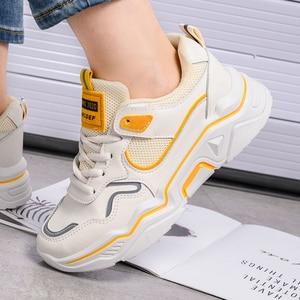 Image 4 - Zapatillas de deporte gruesas para mujer, zapatos vulcanizados informales de plataforma a la moda, zapato de cesta, deportivas, 2019
