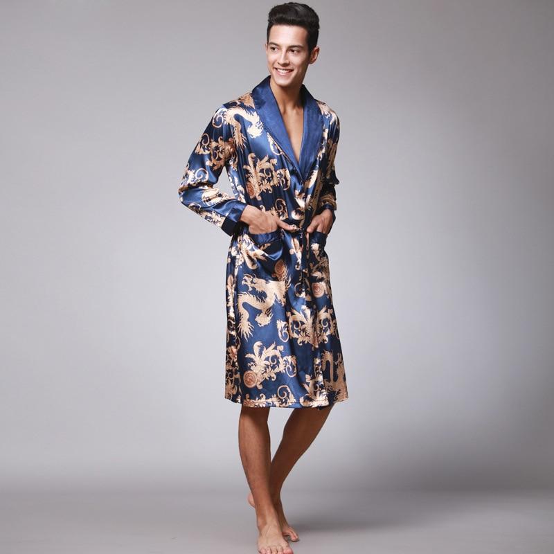 Stylish Men's Bathrobe Silk Kimono Long Sleeves Robe Chinese Lucky Dragon Print Pajamas Men Gown Bathrobe Men Homewear