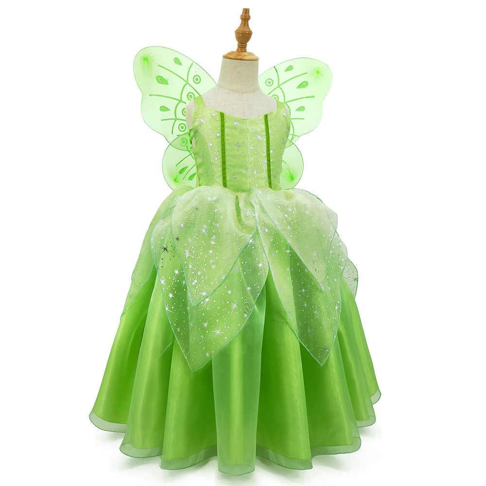 Filles Neverland Fée Costume Robe Fantaisie Vert Tinkerbell enfant livre semaine Pixie