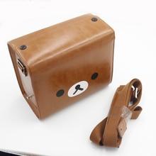 CamDress Brown bear camera bag sling leather cute dslr bag girls camera bag dividers Shoulder Camera Bag Protective Case рюкзак