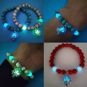 Image 3 - Luminous Glowing In The Dark Moon Lotus Flower Shaped Charm Bracelet Man Women Yoga Prayer Buddhism Natural Stones Jewelry