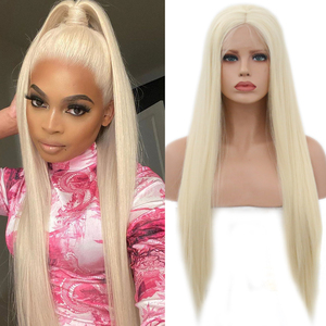 Charisma Blonde Hair Synthetic Lace Front Wig Long Silky Straight With Middle Part Heat Resistant Wigs For Women Cosplay Wigs