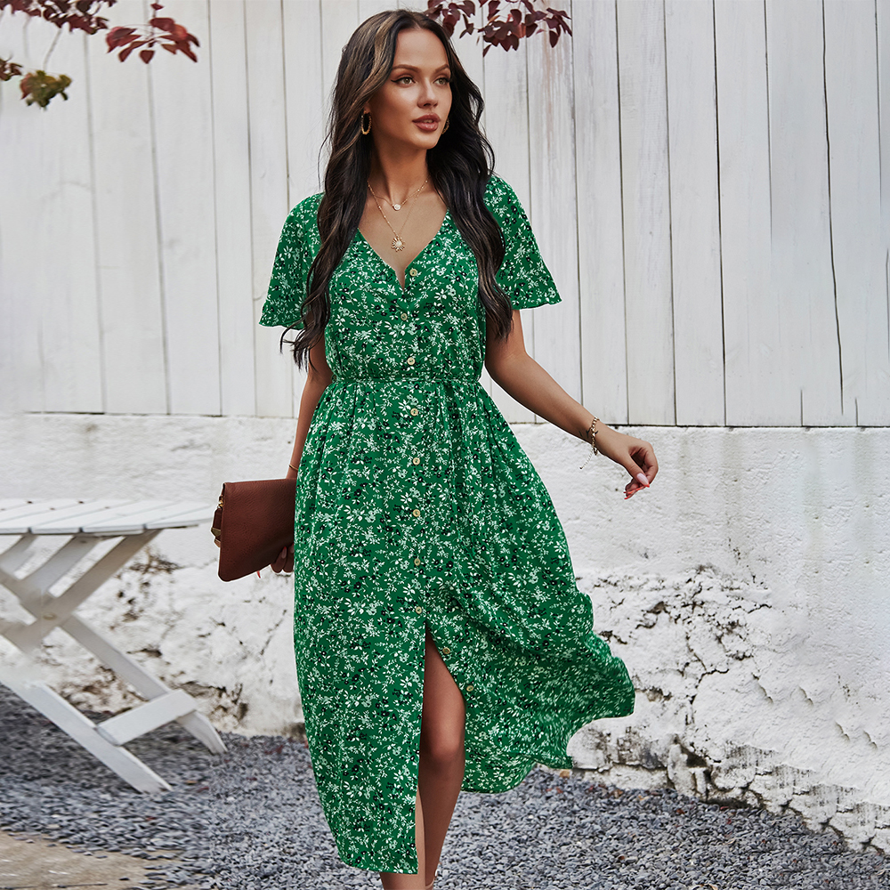2021 Green Floral Print Ruffles Summer Dress Women Casual V-neck Button Sashes Dress Ladies Holiday Beach Sundresses Vestidos