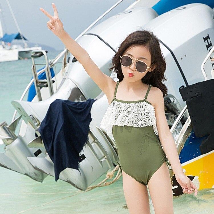 Dou Bao Home 2019 Children One-piece Swimwear Lace Camisole One-piece CHILDREN'S Swimsuit