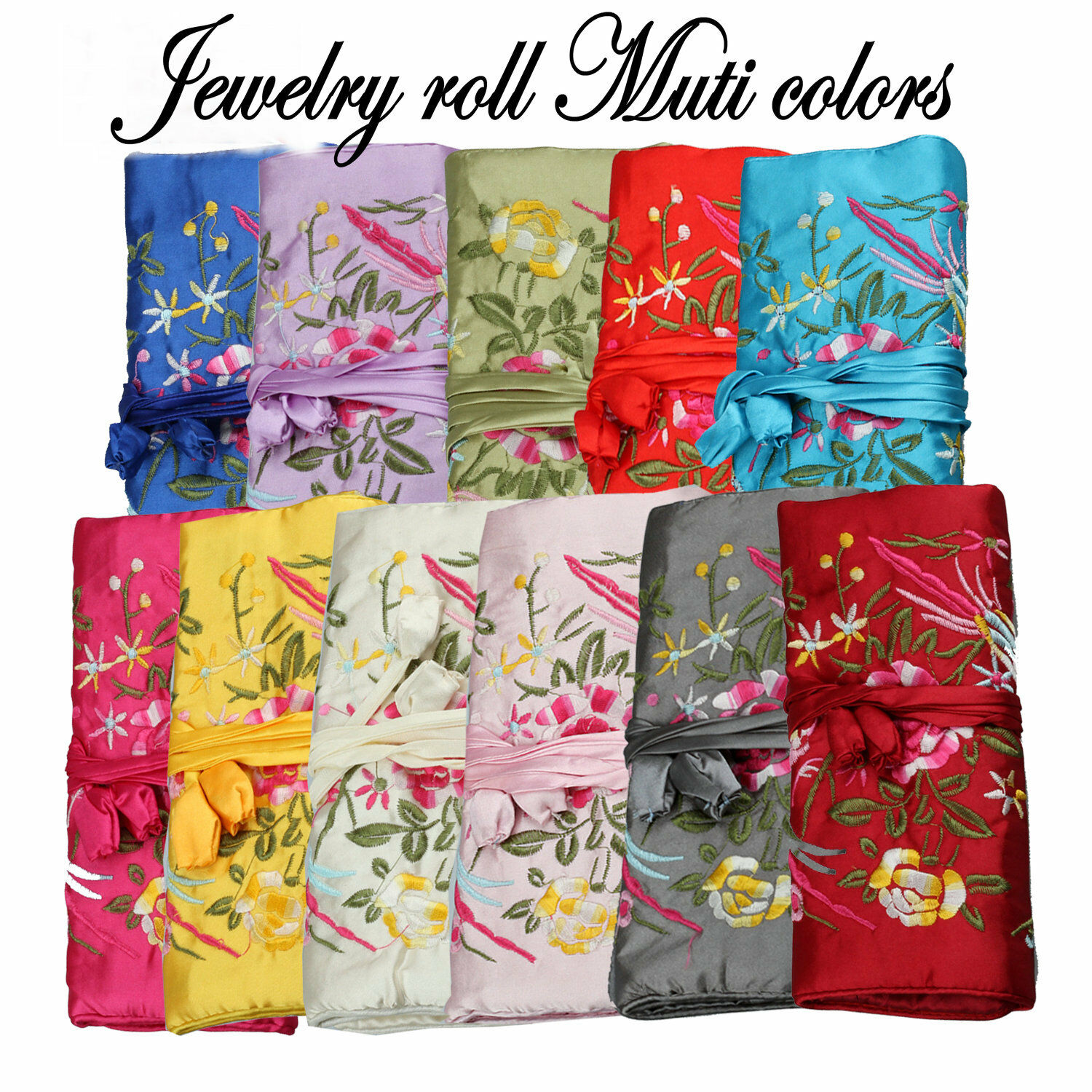 Chinese Silk Jewelry Organizer Pouches 3 Zipper Bag Embroidery Flower Bird Travel Roll Bag Jewelry Packaging Small Gift Box NEW