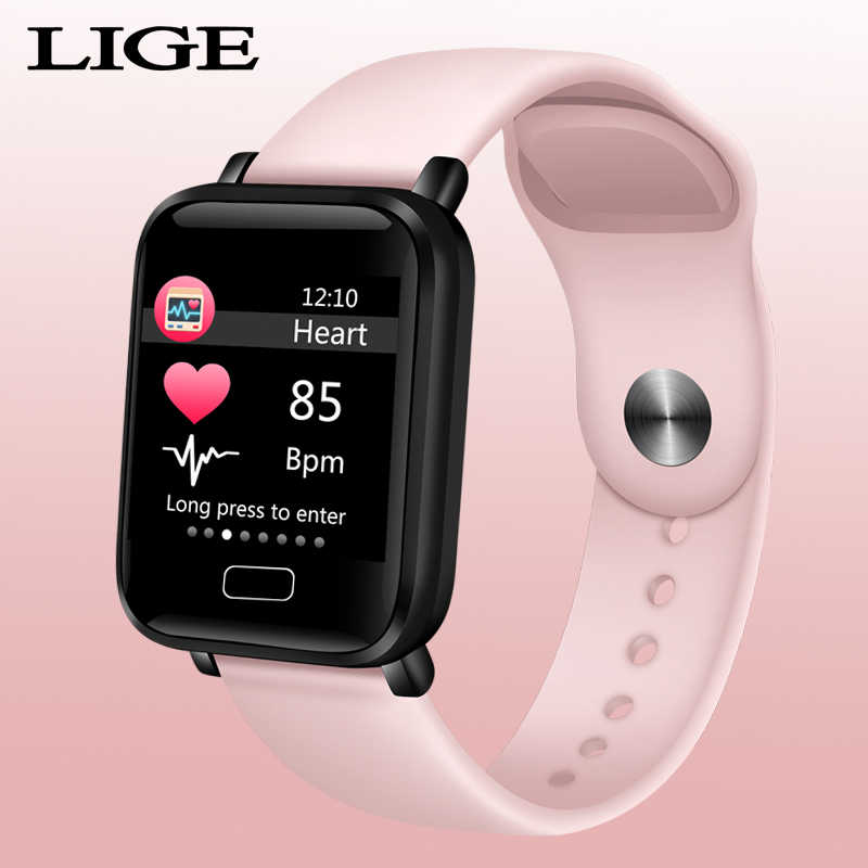 LIGE New OLED Color screen smart band women Fitness bracelet Sports waterproof smart watch For iPhone Android Bluetooth bracelet
