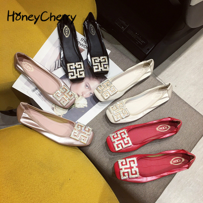 Rhinestone Single Shoes Women Flat 2019 Autumn Square Head Shallow Shoes Women Size 4.5-9.5 Flat Loafers Ladies Shoes