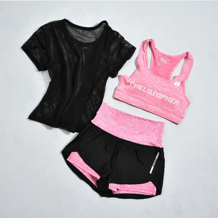 Sportswear 3 Piece Set Women Gym Sport Suit Shirt Top+Bra+Shorts Female Workout Athletic Fitness Clothing