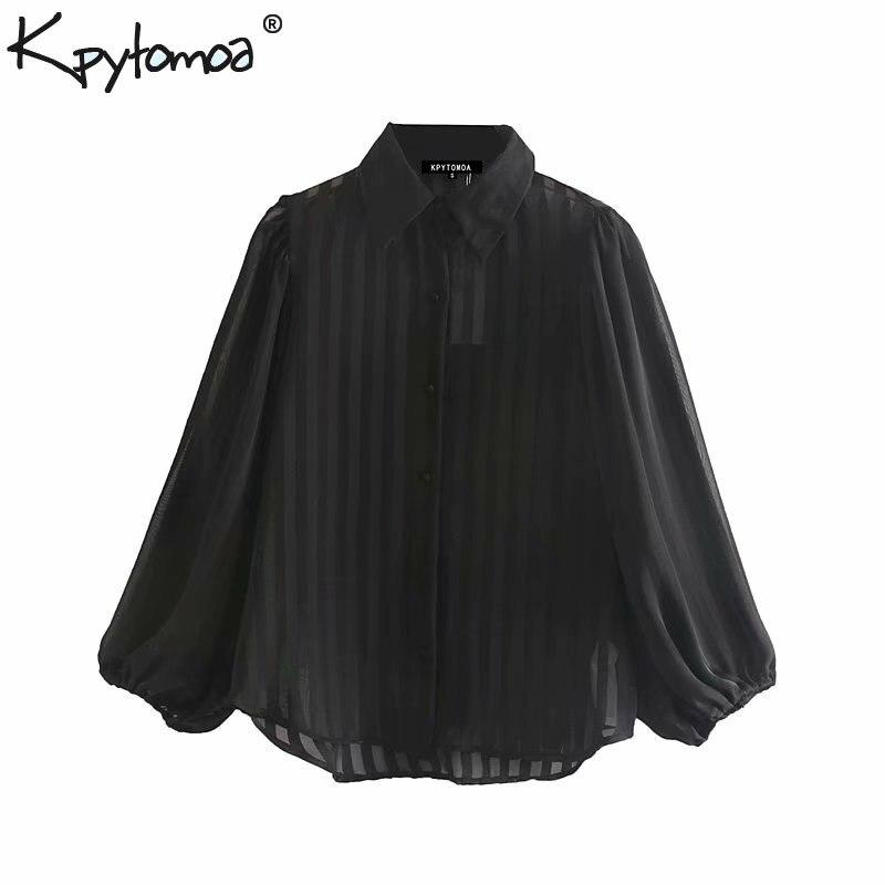 Vintage Stylish Striped Organza Tops Women Blouses 2019 Fashion Lapel Collar Lantern Sleeve See Through Sexy Shirts Blusas Mujer