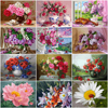 HUACAN Oil Painting Flower Drawing On Canvas HandPainted Painting Art Gift DIY Pictures By Number Flower Home Decoration Kits