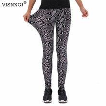 VISNXGI Snake Print Leggings Women Fitness Pants Sports High Waist Workout Push Up Trousers Plus Size Ankle-Length Size S-XXXL
