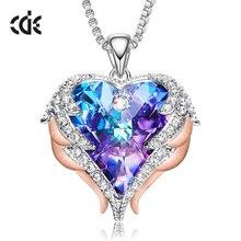CDE Модные ангельские крылья кулон в форме сердца ожерелье с Кристаллы аметиста для женщин ювелирные украшения подарки на день Святого Валентина