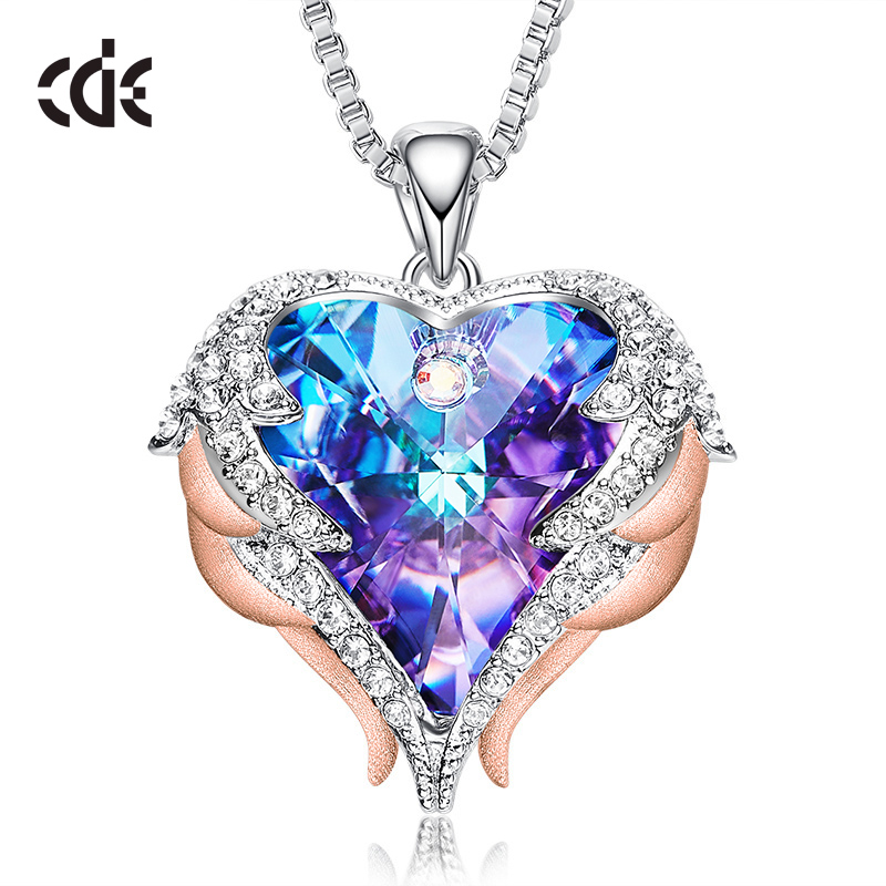 CDE Fashion Angel Wings Heart Shape Pendant Necklace With Amethyst Crystal For Women Fine Jewelry Valentine's Day Gifts