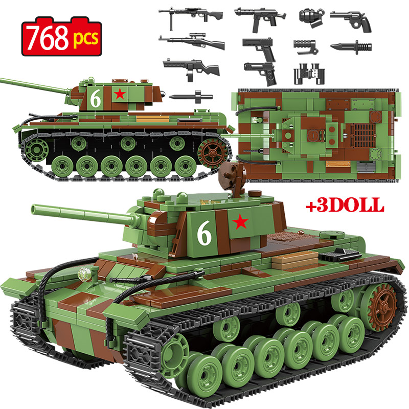 768 PCS Military Soviet Russia KV 1 Tank Building Blocks Legoingly Tank City WW2 Soldier Police Weapon Bricks Sets Toys For Boys