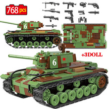 768 piezas militar soviética Rusia KV 1 bloques de construcción de tanques legoingly Tank City WW2 soldado arma de policía ladrillos conjuntos de Juguetes para los niños