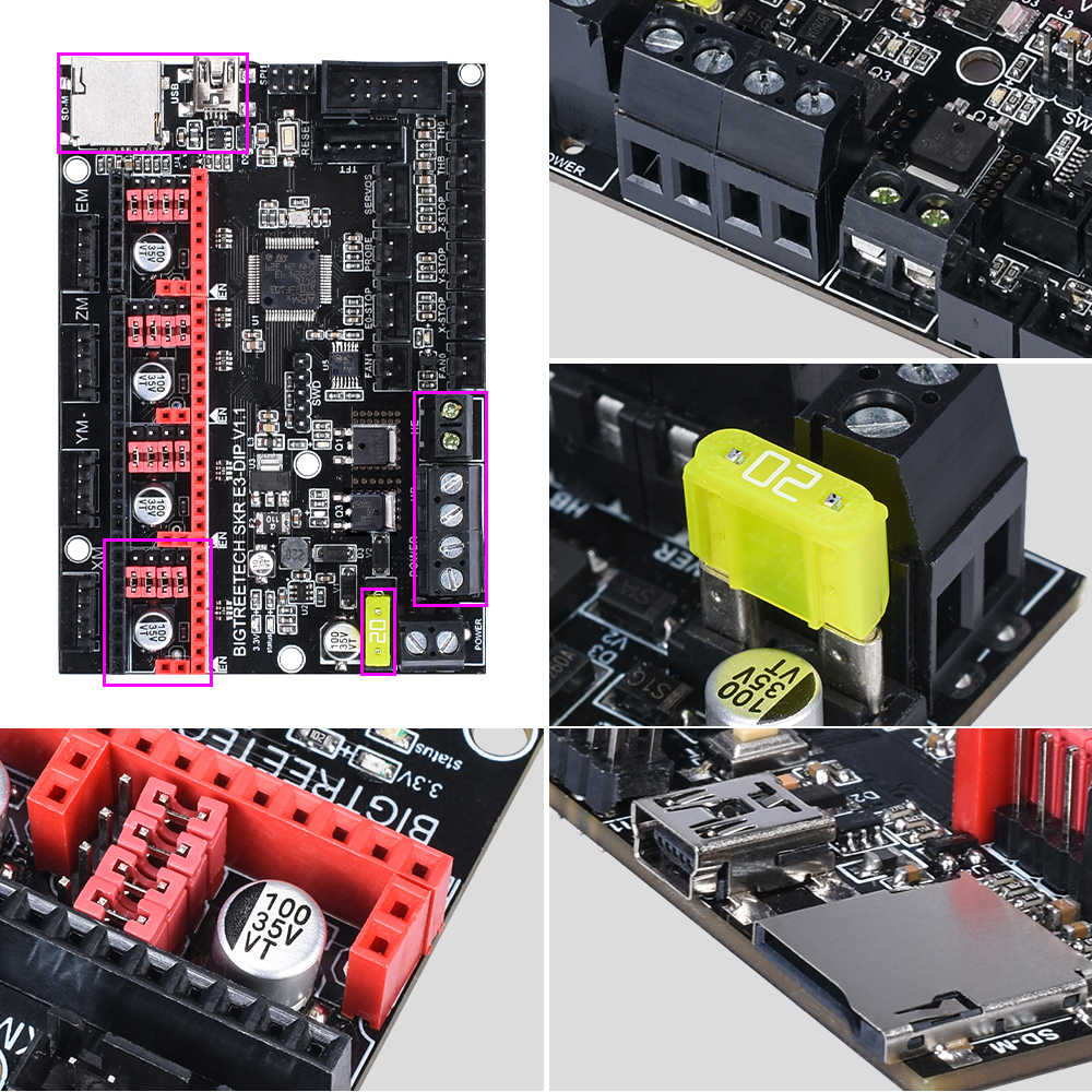 BIGTREETECH SKR E3 DIP V1.1 32Bit لوحة تحكم ثلاثية الأبعاد أجزاء الطابعة TMC2208 TMC2130 spi VS الفهد V1.2a mini E3 ل Ender-3 برو