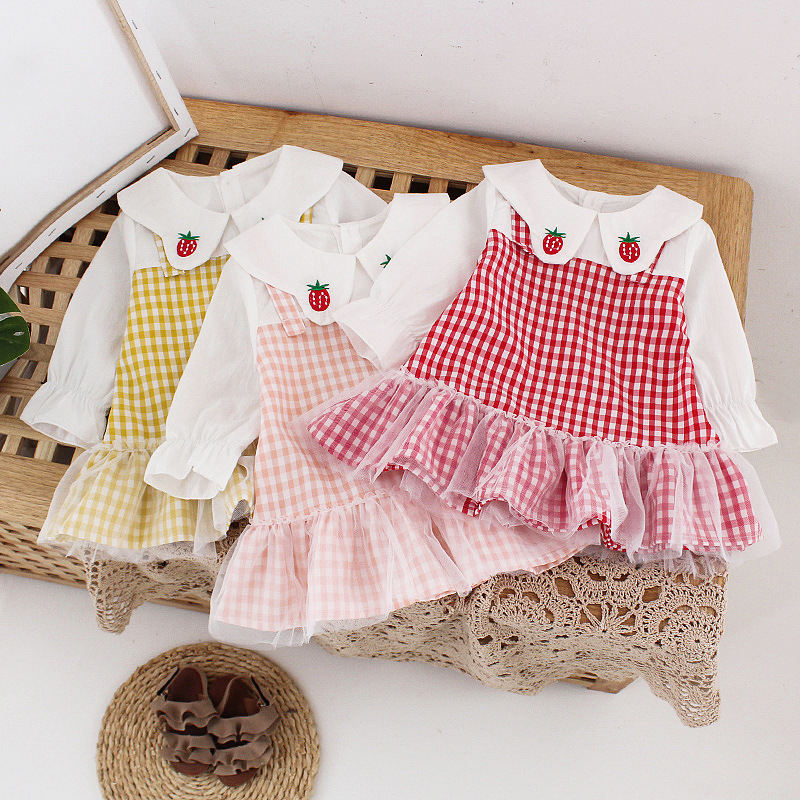 Korean Baby Girls Baptism Dresses Long Sleeve Plaid Ruffle Dress Party Little Child Clothes <font><b>6</b></font> <font><b>12</b></font> <font><b>24</b></font> Months Half Birthday Outfits image