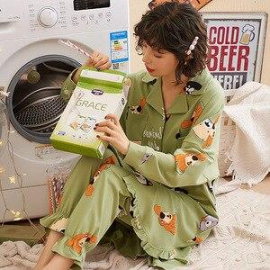 Image 5 - New Autumn Winter Sleepwear 2 Piece Sets For Womens Cotton Pajamas Turn down Collar Homewear Large Size 3XL Pijama Soft Pyjama