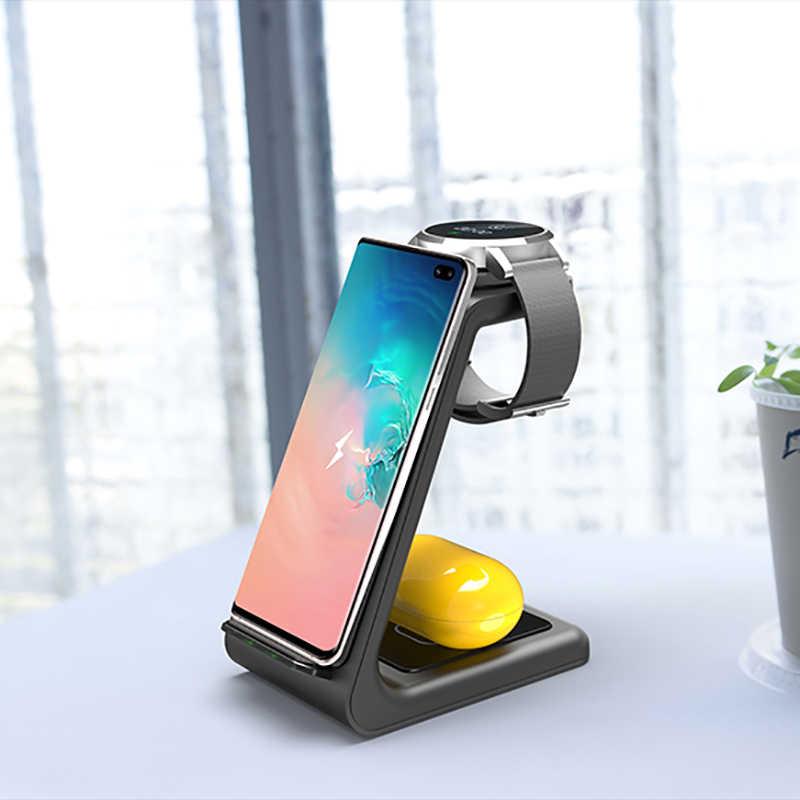 צ 'י 3 ב 1 אלחוטי מטען עבור Iphone 11/XS/X/Airpods פרו/Iwatch 5/4 מהיר תשלום אלחוטי תשלום Stand עבור Samsung S10/ניצן/שעון