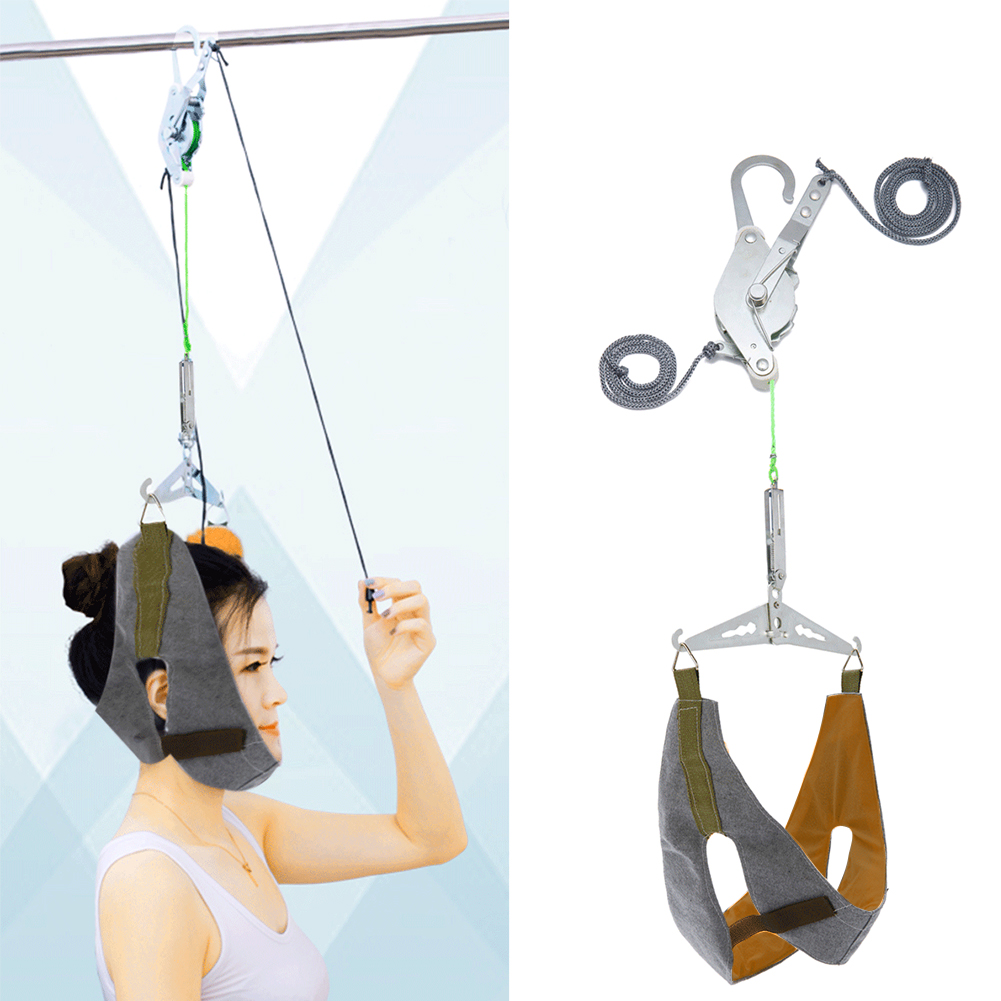 Brace Home Cervical Traction Kit Neck Stretch Correction Hanging Portable Spine Office Adjustable Gear Over Door Pain Relief
