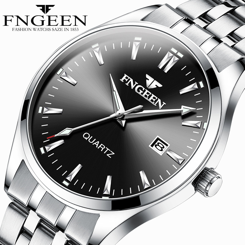 FNGEEN Series Watch Men's Quartz Business Watch Stainless Steel Straps Waterproof Calendar Display Men's Watch Relogio Masculino