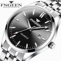 Fngeen série relógio de negócios relógio de quartzo masculino cintas de aço inoxidável à prova dwaterproof água calendário de exibição relógio masculino