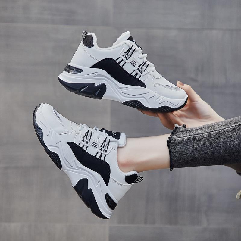 YRRFUOT 2020 Plus Velvet Korean Style Casual Women's Shoes Outdoor Solf Women Sneakers All-match Vulcanized Shoes Women Sneakers