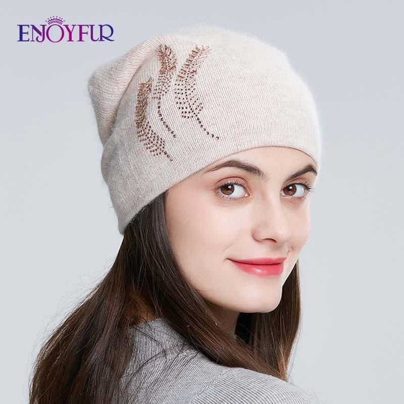 ENJOYFUR Women's Winter Hat Warm Thick Soft Rabbit Hair Beanie Female Wool Knitted Hats With Rhinestone
