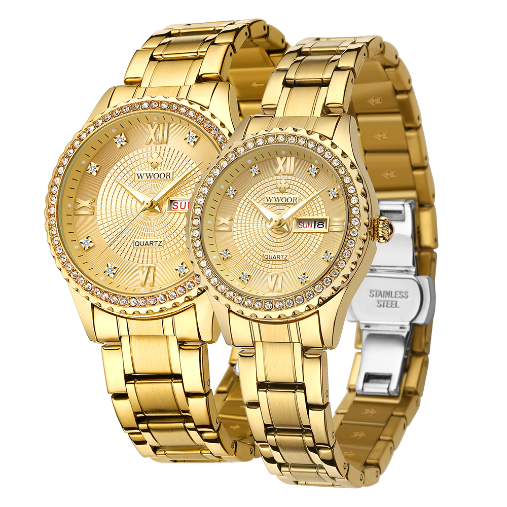 WWOOR 8856 Gold Casual Mannen Horloge Man Waterdichte Business Quartz Klok Horloges Top Merk Luxe Rvs Man Horloge
