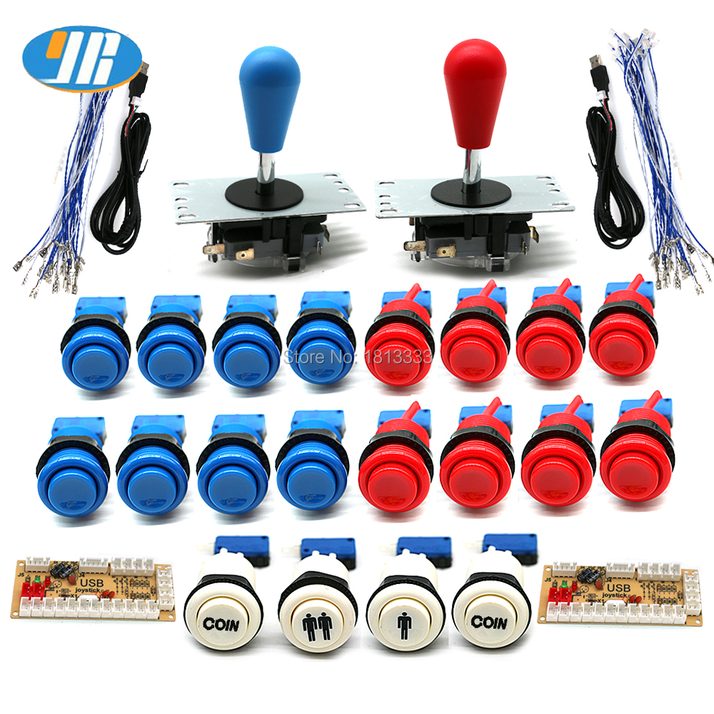 Arcade DIY KIT American Style SANWA Joystick HAPP Type COIN 2 Player Push Button With Micro Switch And Zero delay encoder For PC