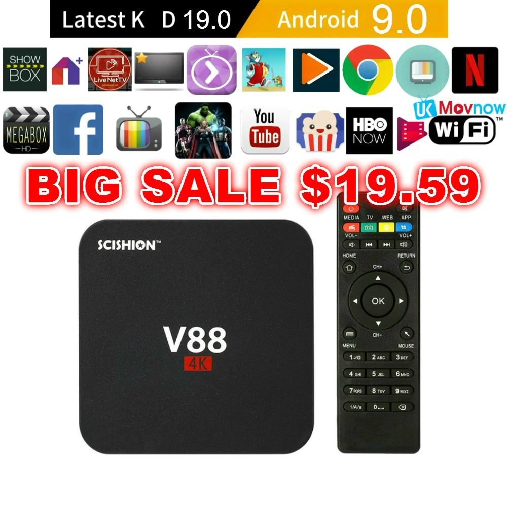 Scishion v88 android caixa de tv iptv android 9.0 os 1 gb ram 8 gb rk3229 quad core 1080 p wifi hdmi caixa de tv inteligente media player