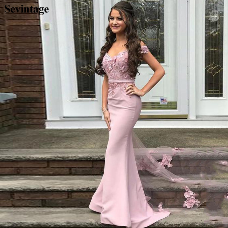 Sevintage Sexy Mermaid Lace Long Evening Dress Off Shoulder Prom Gowns Custom Made Women Party Dress with Tail robes de soirée