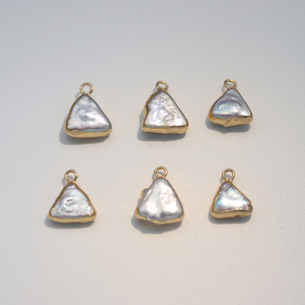 2Pcs Natural Freshwater Pearls Triangle-Shaped Pendants Making For Jewelry Bracelet DIY Necklaces Accessories Size <font><b>15x15mm</b></font> image