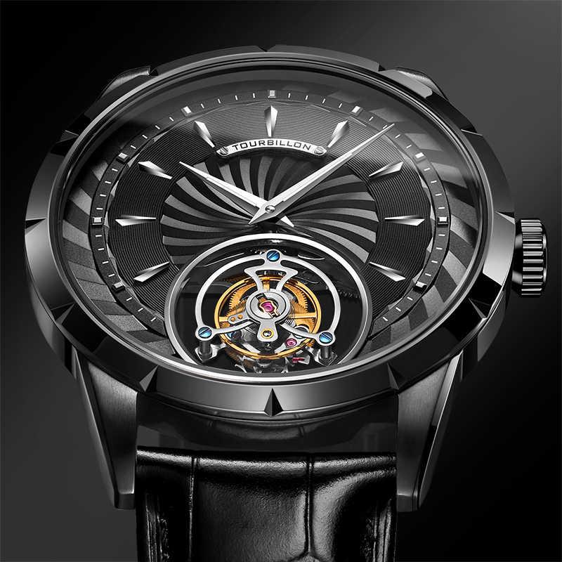 Guanqin本物トゥールビヨン腕時計メンズスケルトン機械式時計 2019 のためのトップブランドの高級防水腕時計男性リロイhombres