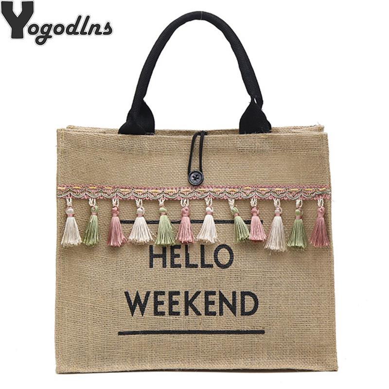Women Summer Beach Bags Handbags Large Capacity Lady Tassel Shoulder Bag Big Letter Linen Totes Casual Girls Travel Shopping Bag