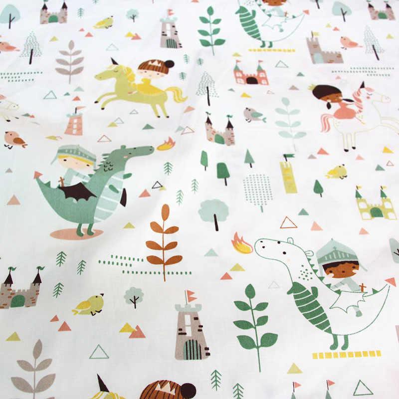 Dinozaur ładna dziewczyna drukowane 100% bawełna tkaniny do produkcji sukienki poduszki koc szycia dziecko dziecko prześcieradło tekstylne