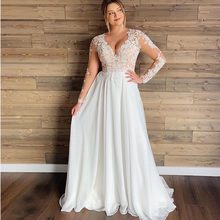 Long Sleeves Chiffon Appliques Beach Bridal Dress Short Sleeves Cheap High quality Wedding Gowns Plus Size Wedding Dress 2019(China)