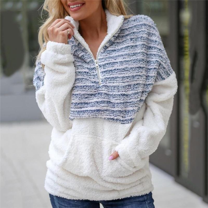 Stripe Zipper Ladies Pullovers Hoodies Casual Fashion Long-Sleeve Sweatshirt Women Pocket Turn-down Collar Winter Streetwear