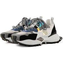 2019 Fashion Style Platform Black Beige Chunky Sneakers Dad Shoes Basket Femme Women Vulcanize Y090