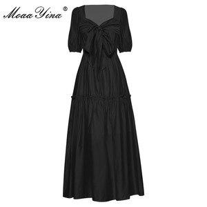 Женское платье MoaaYina, летнее платье с рукавами-фонариками и бантом на шнурках, элегантные праздничные платья для отпуска