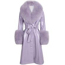 Abrigo largo de cuero genuino para mujer
