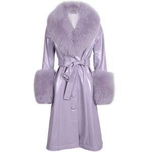 Image 1 - ladies leaher coat long women genuine leather windbreak