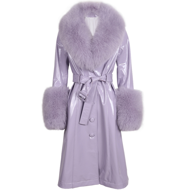 ladies leaher coat long women genuine leather windbreak